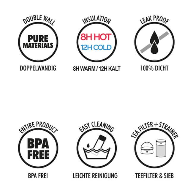 Thermoteebecher Vorteile, 600ml doppelwandig, dicht, bpa-frei, Tee Sieb, Teefilter, Deckel